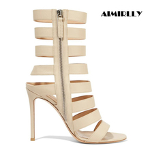 Lisse New Fashion Women High Heel Sandals Strappy Summer Stiletto Ladies Party Dress Shoes Beige Wholesale US Size 4-17