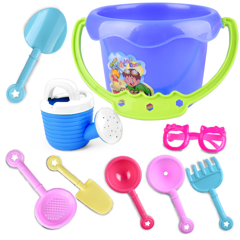 Random Color 9Pcs Kids Sand Beach Toys Castle Bucket Spade Shovel Rake Water Tools Set For Kids Toys Good Gift To Kids