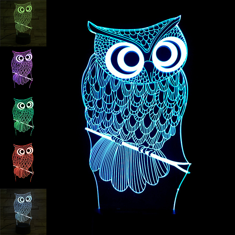 USB 3D Night Light Owl Table Lamp 7 Colors Change with LED Touch Table Lamp Decorative Home Lighting Christmas Xmas Gifts