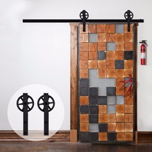 LWZH Rustic Wooden Sliding Barn Door Closet Hardware Black J Shaped with Big Rollers for 10FT/11FT Single Doors