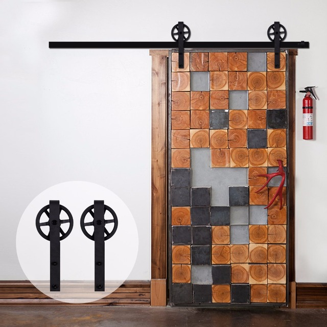 LWZH Rustic Wooden Sliding Barn Door Closet Hardware Black J Shaped With  Big Rollers For 10FT