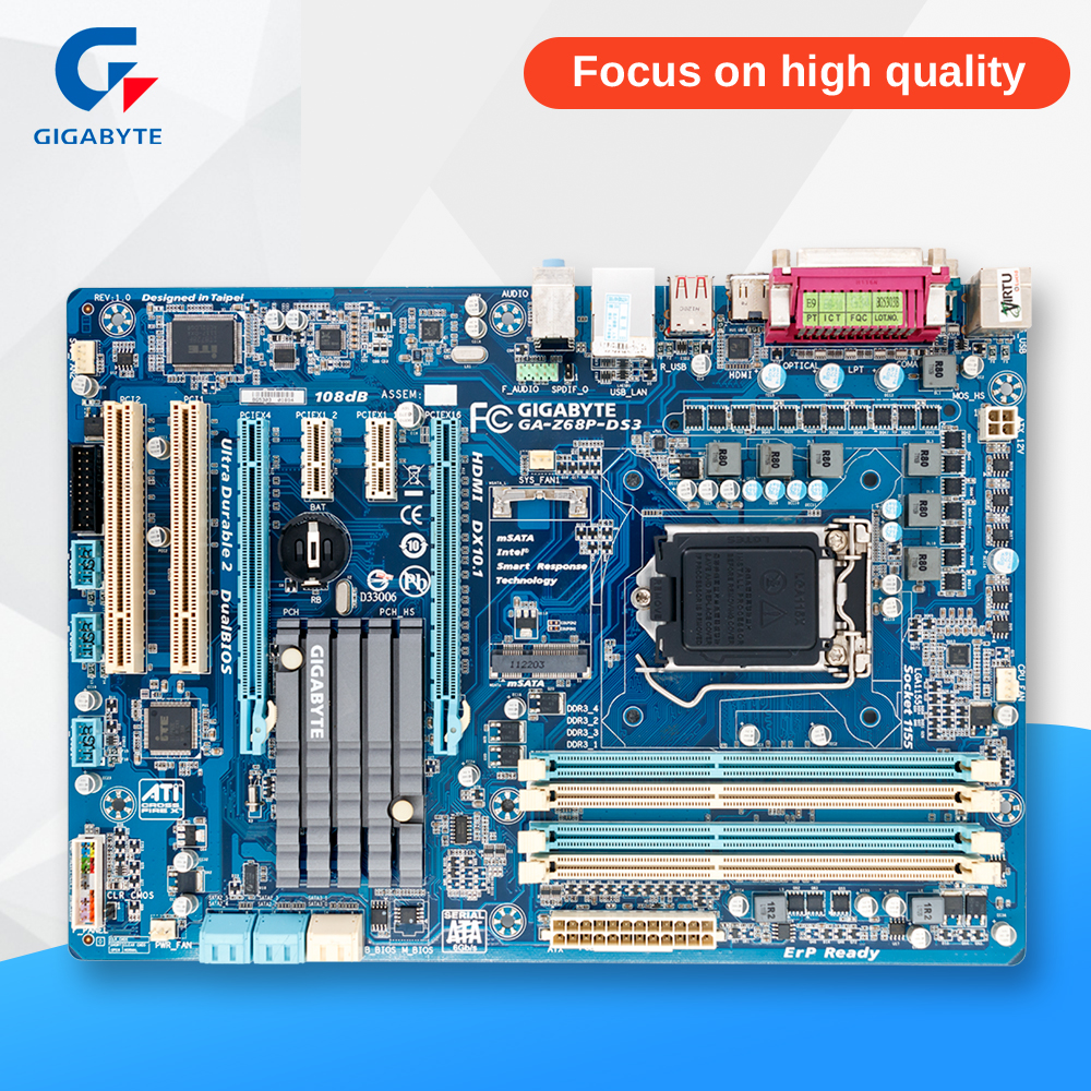 Gigabyte GA-Z68P-DS3 Original Used Desktop Motherboard Z68P-DS3 Z68 LGA 1155 i3 i5 i7 DDR3 32G SATA3 ATX 0 01 999 second 8 terminals digital timer programmable time relay