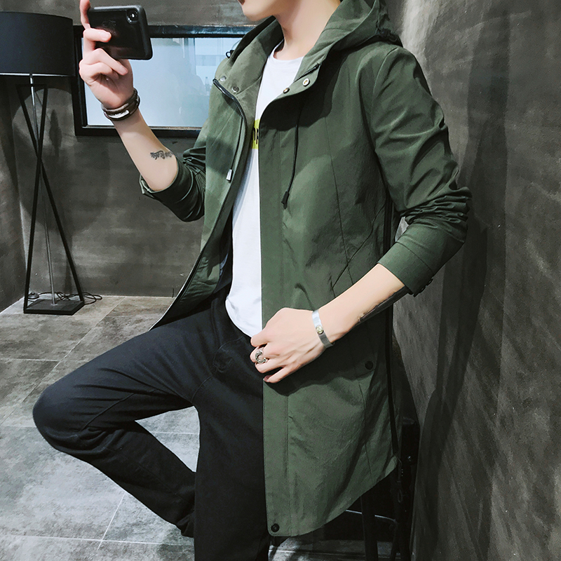 2018 Autumn Mens Casual fashion Hoodie Jacket Men Waterproof Clothes Men's Windbreaker Coat Male High quality   Trench   coat