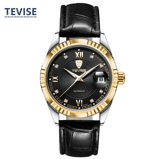ФОТО Men's Automatic Self-Wind Brand Watch Top Quanlity Mens Original Business Watches Fashion Leather Material Strap Gift Watch A026
