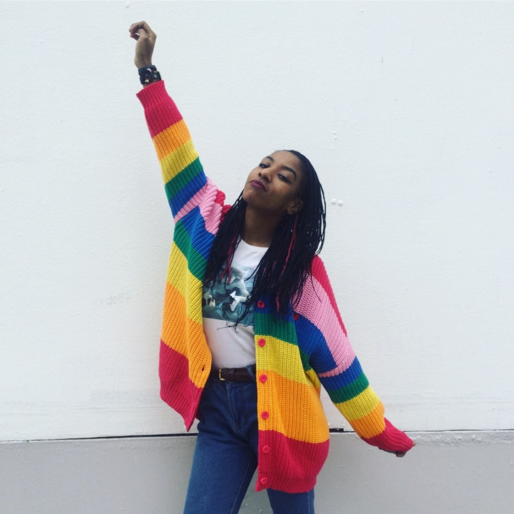 Danjeaner V Neck Single Breasted Knitted Cardigans Women Harajuku Rainbow Stripes Letter Long Sleeve Sweaters Streetwear Jumpers 1