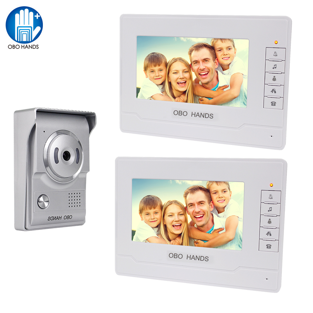 OBO HANDS 7inch Video Intercom Doorbell System Doorphone For Home 2 Monitors IR Camera Door Phone Waterproof Speakerphone 3  4