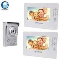 OBO HANDS videoportero automático de 7 pulgadas, sistema de timbre de portero automático para el hogar, 2 monitores, cámara IR, teléfono para puerta, altavoz resistente al agua 3 4