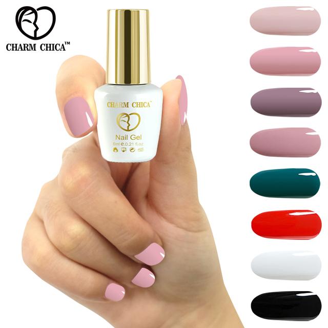 CHARM CHICA Gel Nail Polish UV 6ml Nude Pink White Black Soak Off Gel Polish Gel Lacquer Nail Art Vernis Semi Permanent UV 1348