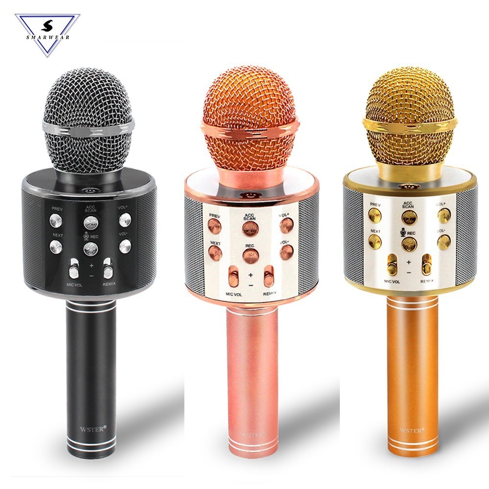100% Original WSTER WS-858 Wireless Karaoke Microphone 5 Magic Voices Changer Bluetooth Singing Mic Speaker For Phone Computer
