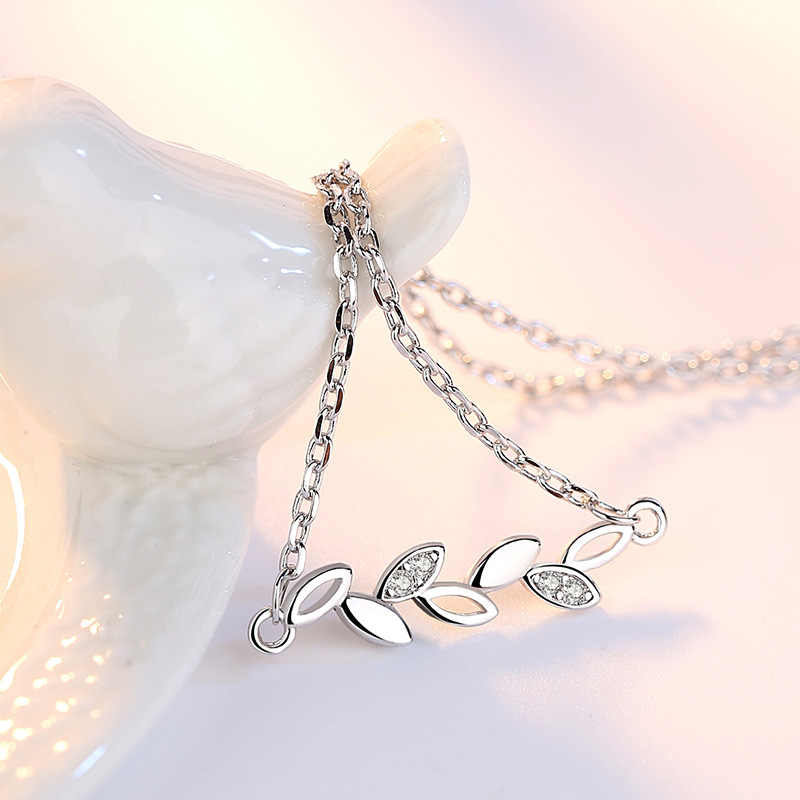 Leaf สร้อยคอจี้สำหรับสตรี 925 เงินเครื่องประดับเพื่อนเจ้าสาวของขวัญ Cubic Zirconia Chain Bijoux Femme Collier Choker