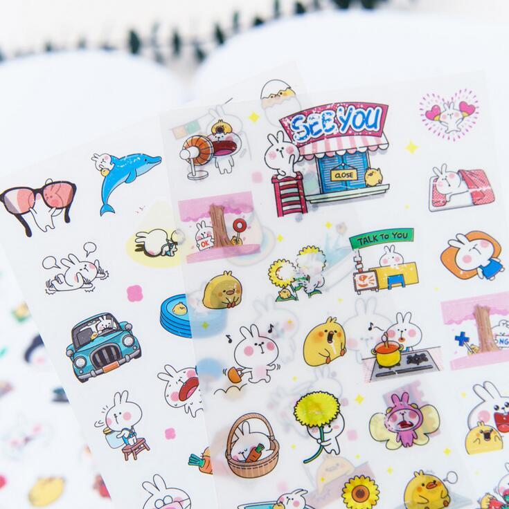 6 pcs/pack Lovely Pet Rabbit PVC Stickers Diary Sticker Scrapbook Decoration PVC Stationery Stickers