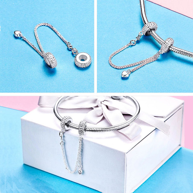 BISAER 925 Sterling Silver Pave Inspiration Star Safety Chain Clear CZ Stopper Charms Fit Bracelet DIY Bead for Jewelry Making 4