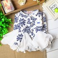 Baby long-sleeve dresses Ball Gown Floral porcelain Ruffle sleeve dress Lace princess dress baby clothing