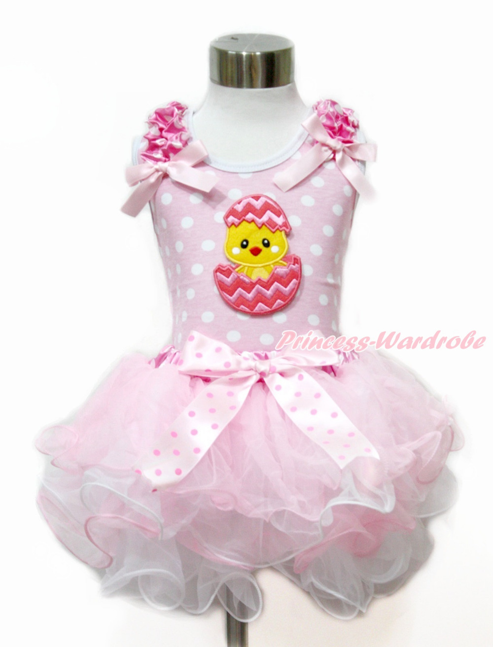 ФОТО Easter Pink White Dots Tank Top With Pink Bows & Chick Egg & Light Hot Pink White Dots Waist Pink White Petal Pettiskirt MAMH179