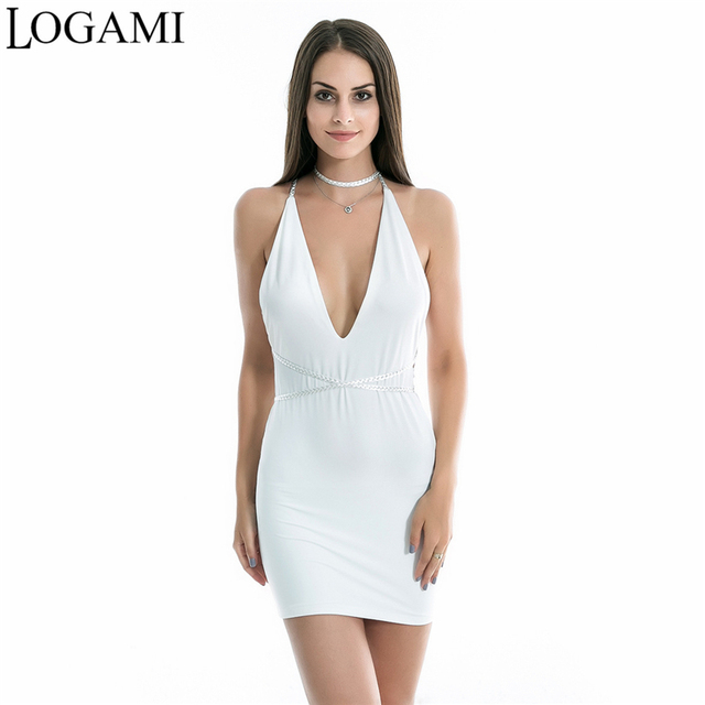 613b003dbee LOGAMI Sexy Deep V Neck Mini Dress Backless Dresses New Arrival Summer  Bodycon Dress 2018 Robe Femme Ete
