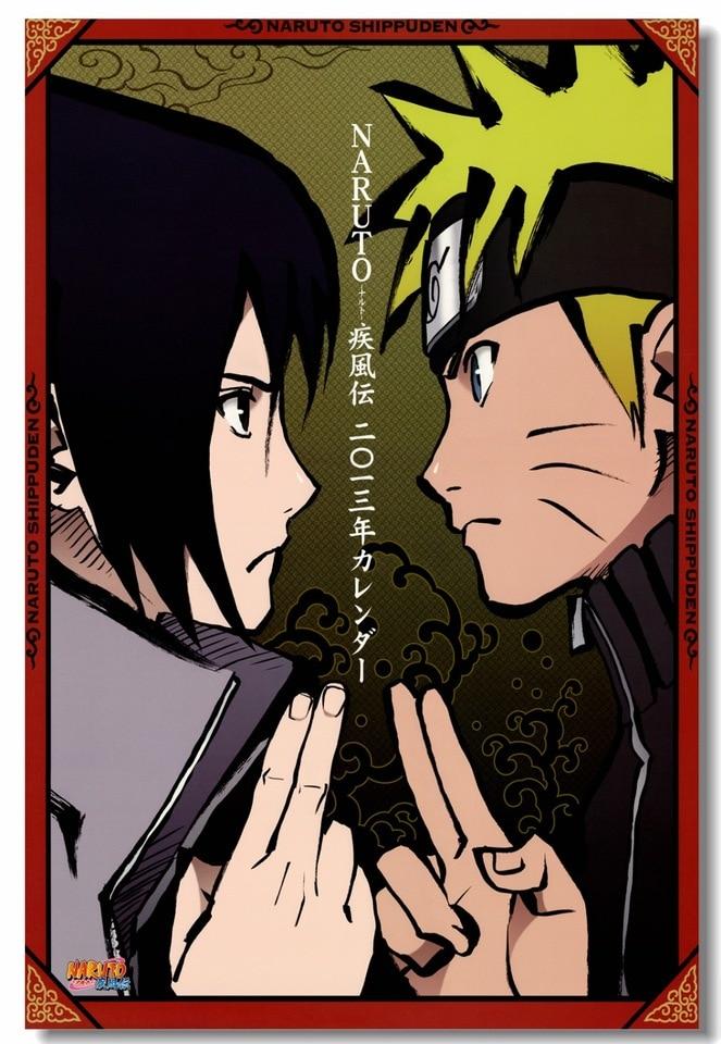 Custom Canvas Wall Decals Uzumaki Naruto Poster Hatake Kakashi Wallpaper Japan Anime Sticker Mural Kids