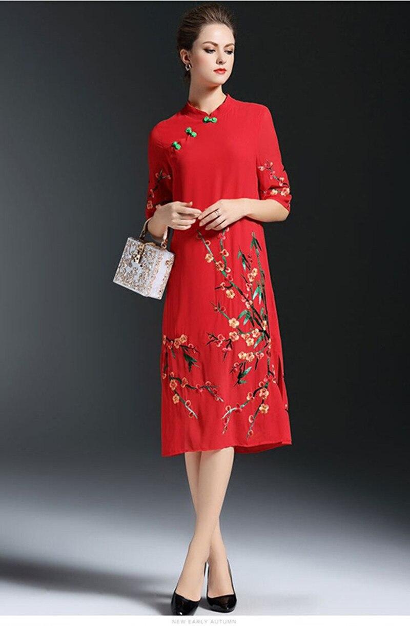 Cheongsam Lâche Soie Longue Rouge Col Prune Nouvelle Améliorée Grande De Robe Mousseline Femmes Taille Stand Été Broderie 5zZ1qU
