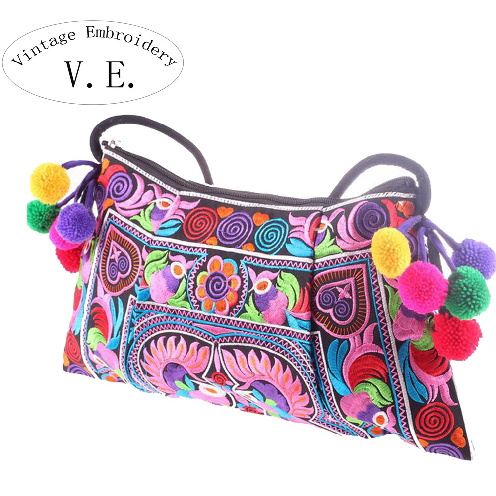 Vintage Embroidery Womens Messenger Bags National Trend Embroidery Shoulder Cross-body Women Shoul;der Bag Clutch Handbag Bolsa