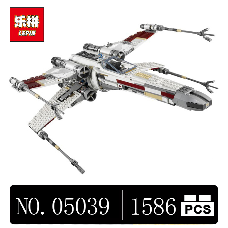 DHL Lepin 05039 1586Pcs Star Genuine Wars Series The X UCS wing Red Five Star Toys fighter Set Building Blocks Bricks 10240 lepin 05060 star series wars ucs naboo star type fighter aircraft model building blocks bricks compatible legoed 10026 toy gifts