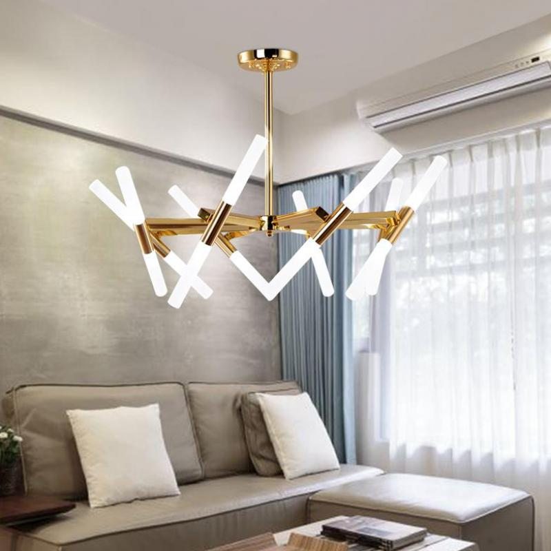 Nordic G9 lustre Modern Gold branch led chandelier for showcase studio Art museum led luminaire shade Dining Room Chandeliers