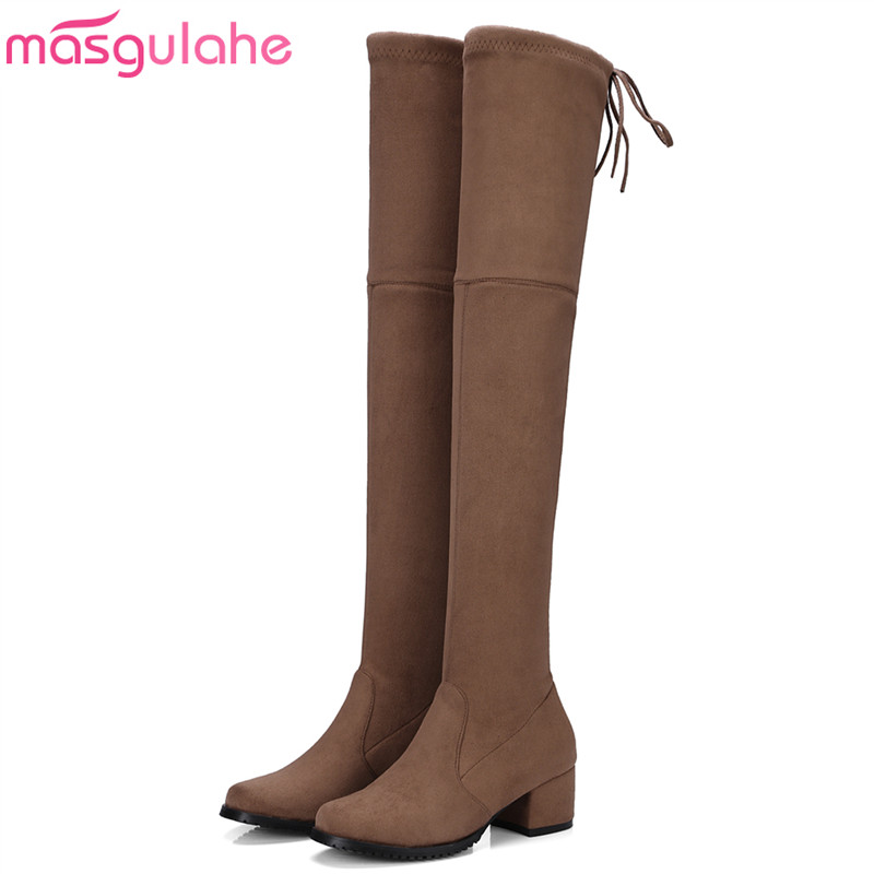 Masgulahe Top quality Thigh High Boots Women Stretch Flock Slim Sexy Fashion Over the Knee Boots Square heel Ladies Shoes Black