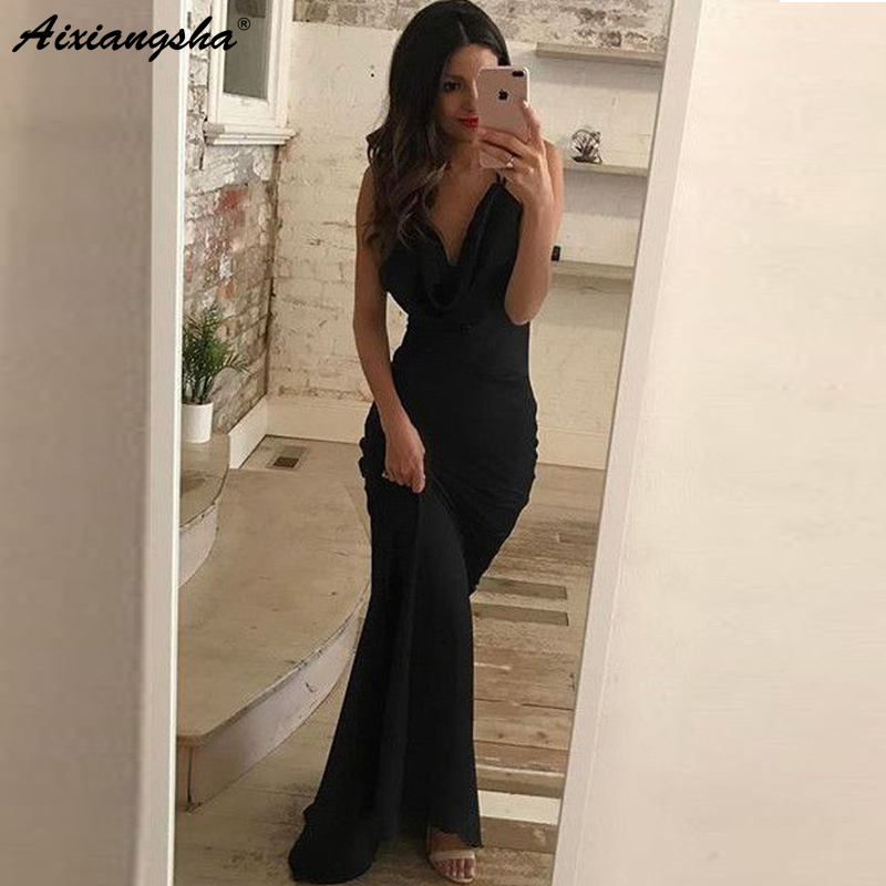 Gorgeous Black   Prom     Dresses   Mermaid V Neck Spaghetti Straps Cross Back Charming Long Evening   Dresses   Sexy   Prom   Gown