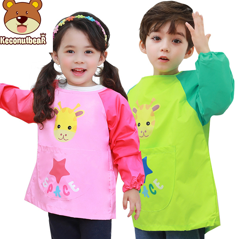 Childs Hot Pockets Waterproof Kids 1 Pcs Smock Apron Craft Painting Cooking