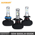 Auxmart H4/H7/H11 50W LED Headlight 6500K 8000LM Hi-Lo/Single Beam Car Headlamps for Ford Chevrolet Audi BMW Honda Toyota Nissan