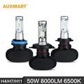 Auxmart h4/h7/h11 50 w led headlight 6500 k 8000lm hi-lo/haz único coche faros para ford chevrolet audi bmw honda toyota nissan