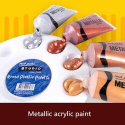 Darmowa wysyłka 4 sztuk/zestaw 50ml metaliczny kolor farba akrylowa do tkanin rysunek ściany ręcznie malowane błyszczący żel malowanie pigmentu w Wkłady do malowania według wzoru od Dom i ogród na