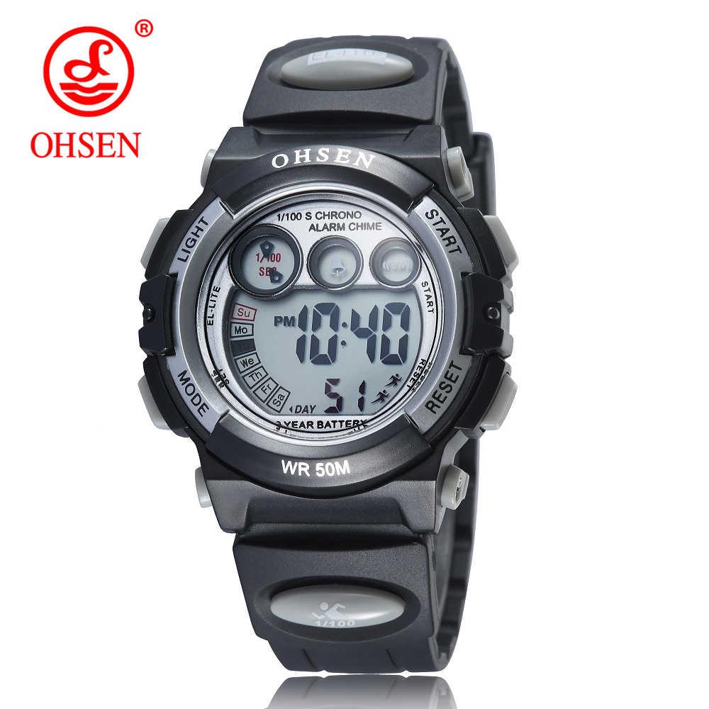 OHSEN אופנה ילדי ספורט שעונים עמיד למים 5ATM ילדים LED דיגיטלי שעון תלמיד חיצוני יד אלקטרוני שעון Montre Femme
