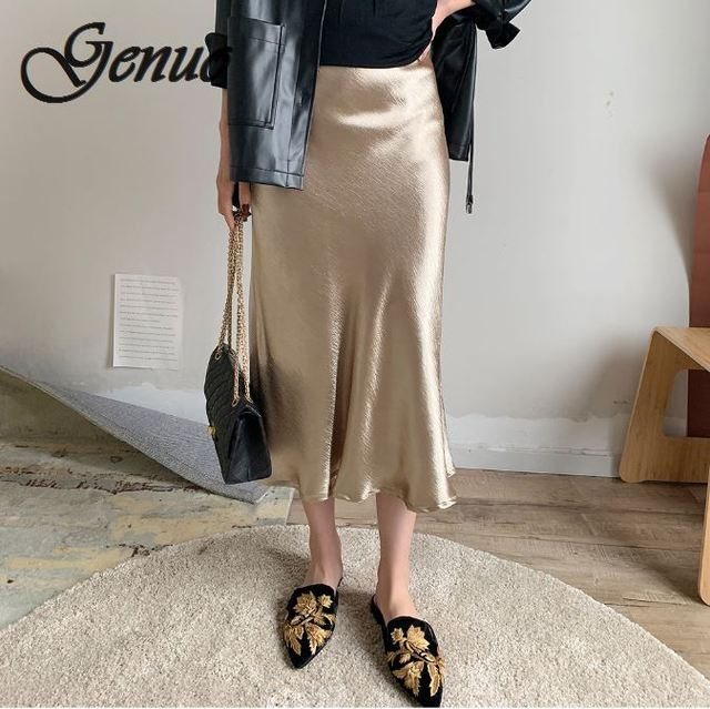 7b32c18c6a Genuo Self Design Summer glossy satin trumpet high waist skirt Silver gold  long Metallic Color party
