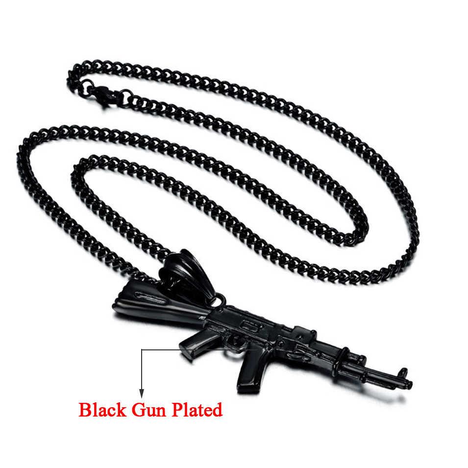 AK47 ожерелье с кулоном в стиле хип-хоп, женское и мужское ювелирное изделие Erkek kolye, черное/золотое мужское ожерелье из нержавеющей стали, хип-хоп цепочка