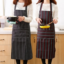 Stripe Apron With Pocket for Women Men Useful Cooking Apron Grid Adjustable Chef Cloth Kitchen Accessories Kitchen Pinafore grid pattern cute polyester kitchen apron red brown multicolored