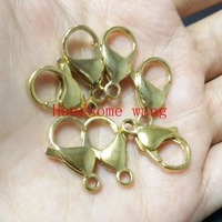 FREE SHIPPING 100pcs DIY Charming Jewerly 316L Stainless Steel 18K Gold Findings Lobster Clasp 9 15