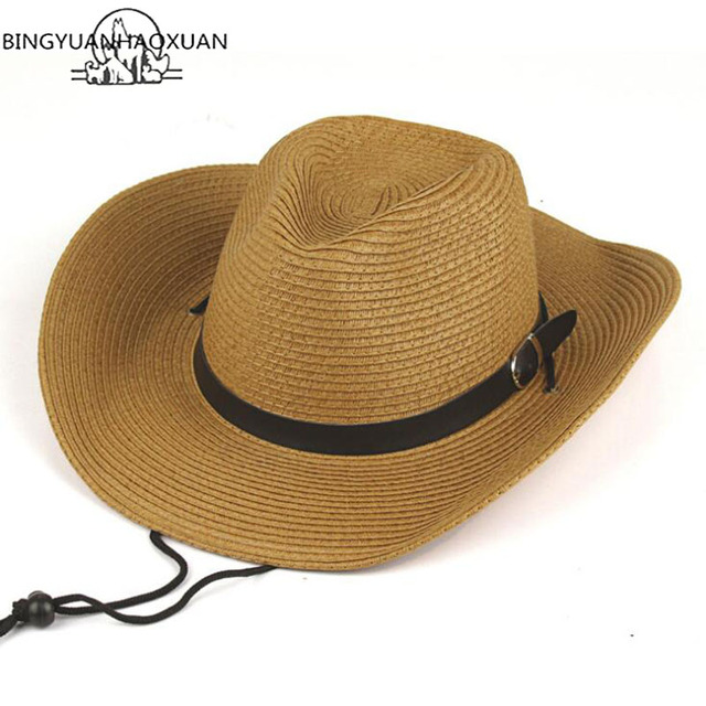 BINGYUANHAOXUAN Panama Straw Hats Summer Beach Mexican Cowboy Hat with  Western Cowgirl Hat Sun Protection Beach d02e84a0472c