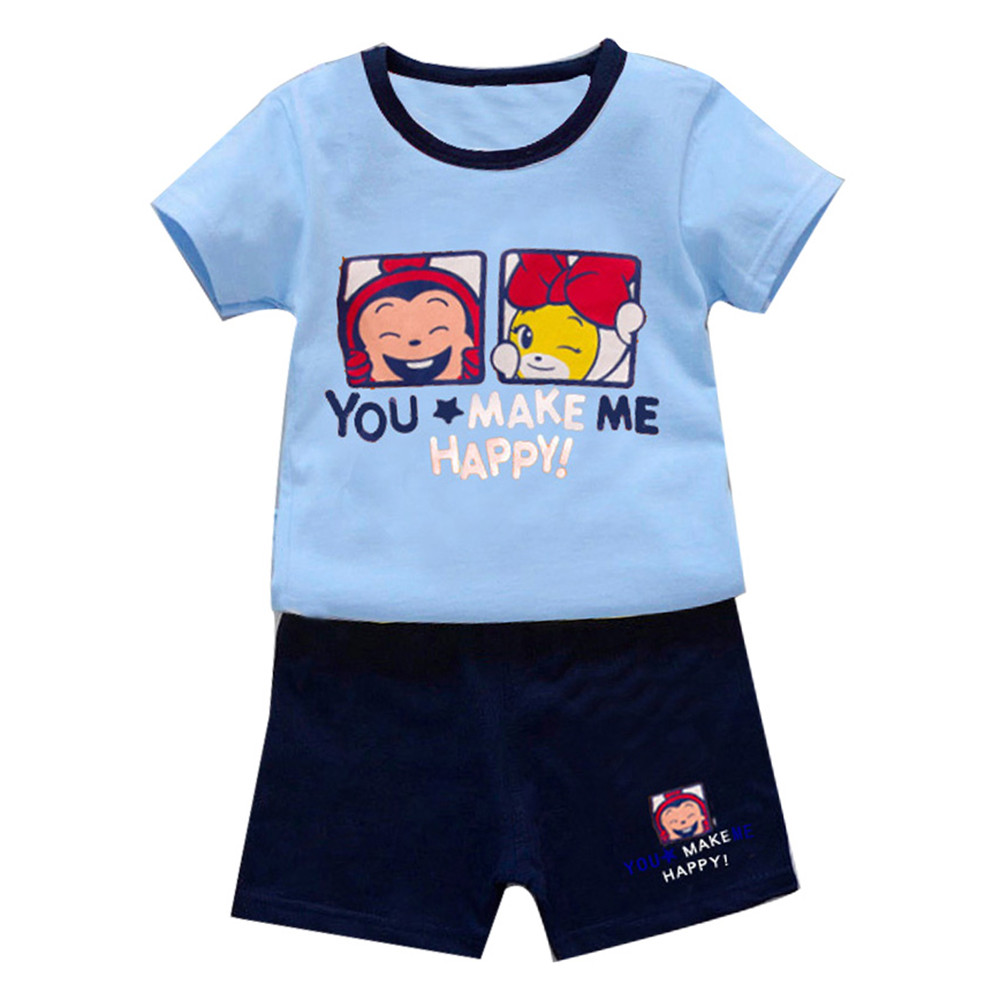Toddler Kids Baby Boys Outfits Clothes Prints T-shirt Tops Pants 2PCS Summer US