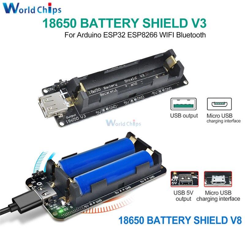 Dual 18650 Lithium Battery Shield V8 V3 5V 3A Micro USB Type-A USB Power  Bank Battery Charging For Raspberry Pi ESP8266 ESP32