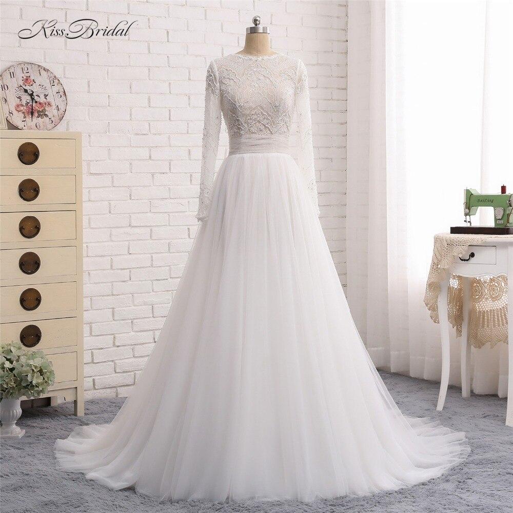 Vestidos de novia New Vestidos de Noiva Moda 2018 O-pescoço Mangas Compridas Tribunal Trem Lace Tulle A Linha de Vestidos De Noiva China