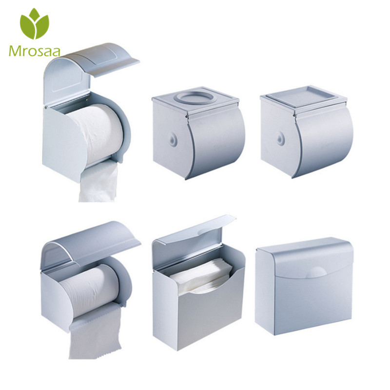 Space Aluminum Postbox Type Toilet Paper Holder Case with Cover Roll Dispenser Bathroom Waterproof Tissue Box Roll Tissue Holder panda style cute tissue roll box small gadget trash black