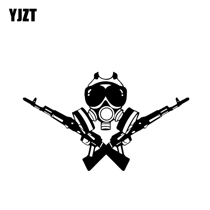 YJZT 17.3*10.3CM Cartoon Skull Soldier Gun Decoration Car Sticker Black/Silver High Quality Vinyl C12-0316