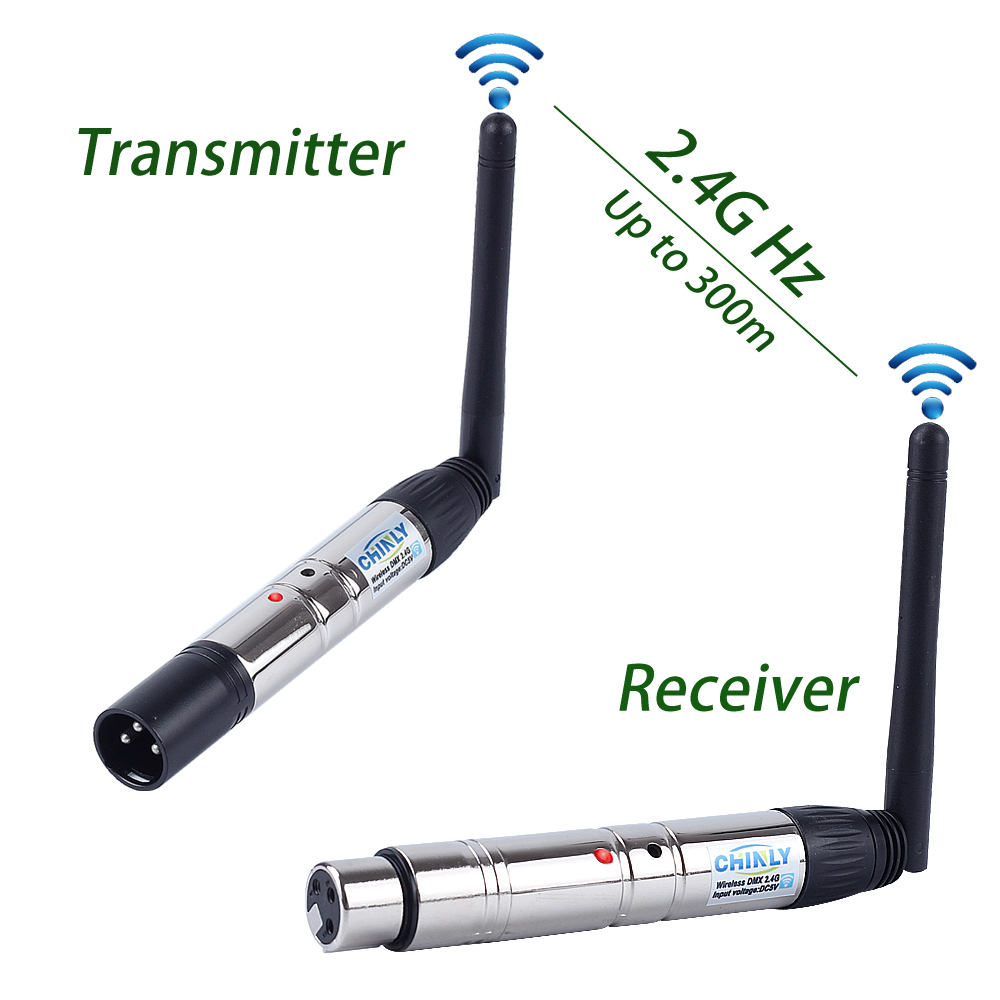 DMX512 Wireless Transmitter Receiver Lighting Controller 2.4G ISM Communication Distance 300M for Stage PAR Party Lighting DMX dhl free shipping dmx512 wireless transmitter and receiver antenna socket for stage lighting