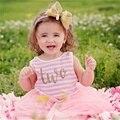 Princesa dress de la muchacha de 2016 nueva marca de los bebés vestidos de chaleco rayado encaje Tutu Fiesta de Cumpleaños del Niño del Desgaste Ropa Para Niños de 1 Año
