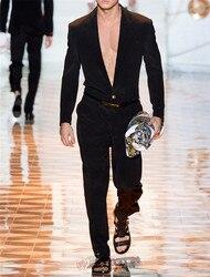 Новинка 2020, Мужская одежда, Стильная мода для подиума, универсальный Британский Молодежный комбинезон с соединением, костюмы размера плюс, ...