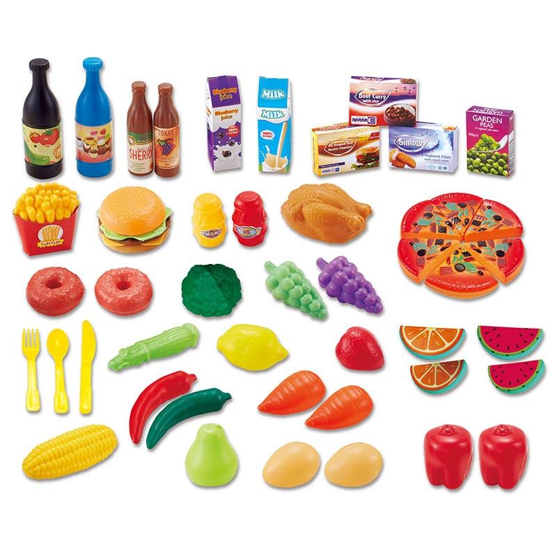 48pcs set kids kitchen plastic cutting food sets toys for Plastic kitchen set