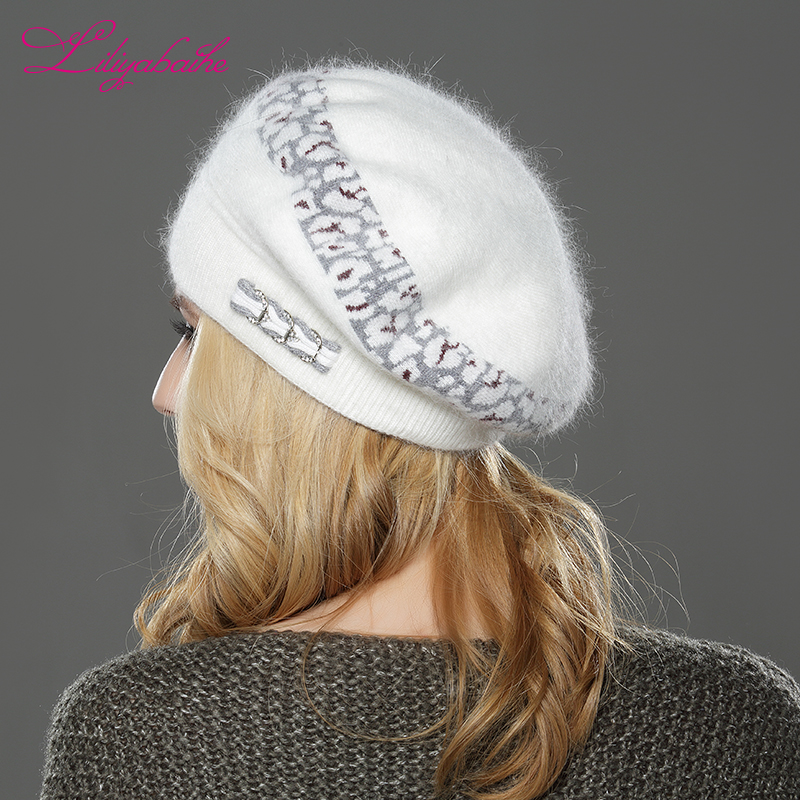 Image 2 - LILIYABAIHE  NEW Style Women winter beret hat knitted wool angora beret  Sttriped Beautifully  decoration cap Double warm hat-in Women's Berets from Apparel Accessories
