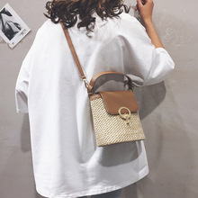 Shoulder Bag Female 2019 PU Leather Lock Clasp Straw Ratten Bag Leisure Fashion Bucket Bag Single Crossbody Bag Women Handbags leisure straw and sequins design shoulder bag for women