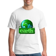 Short Sleeve T-Shirt earth day Mens White t Shirts Teenage Geek Cotton Shirts