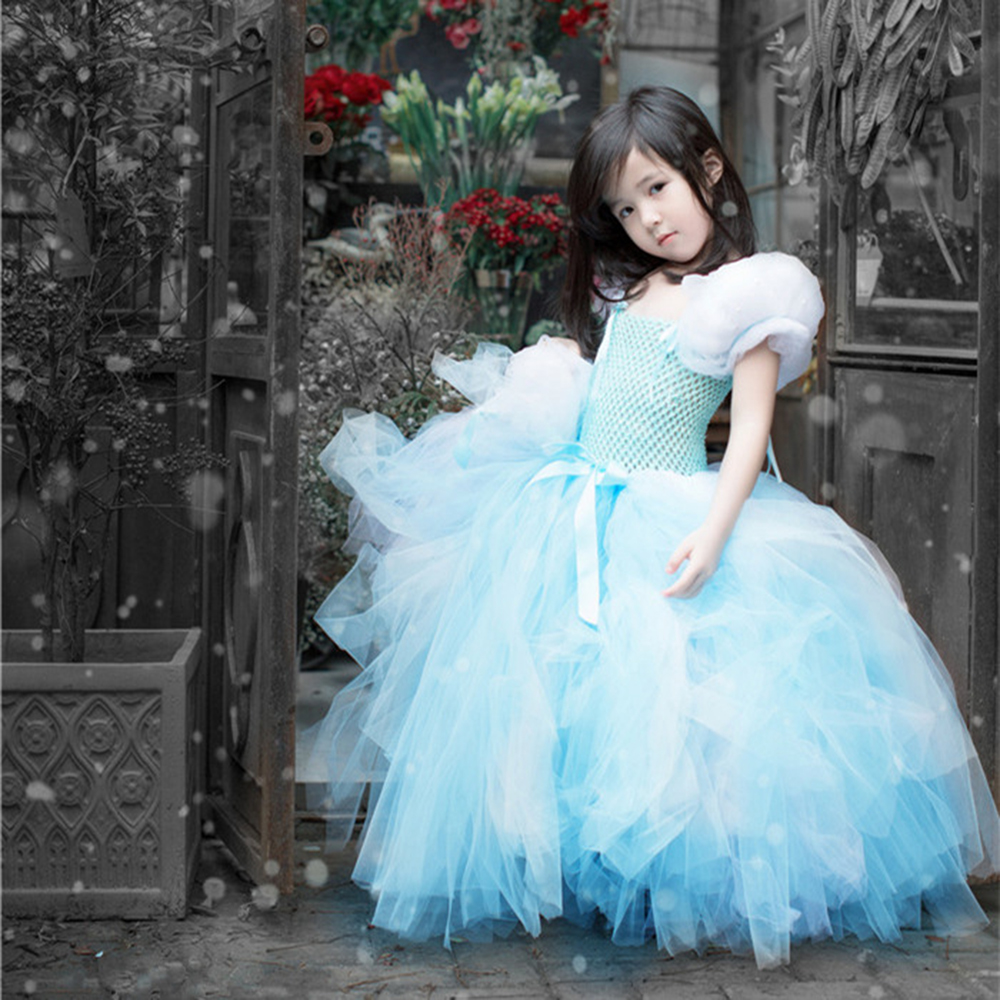Girls Princess Cinderella Blue Cosplay Costume Dress Kids Party Fancy Dress Fluffy Girl Costume Tutu Dress Puffy Carnival Dress юбка blue shells cosplay pettiskirt tutu lolita
