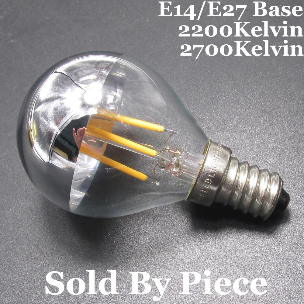 Incandescent Lamp 40W Equal E14/E27 Golf Ball G45 Half Silver/Chrome 220V AC Dimmable LED Filament Small Globe Edison Light Bulb